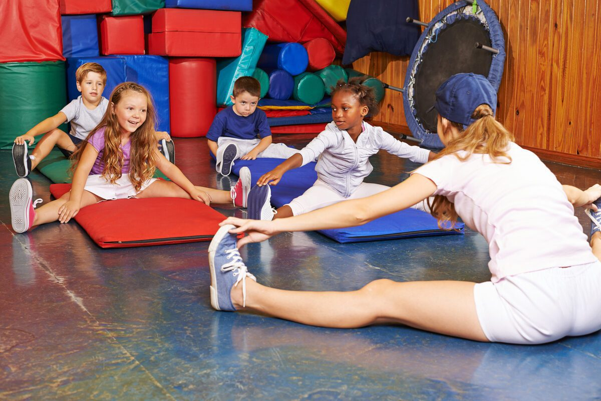 Children participate in a gymnastics class